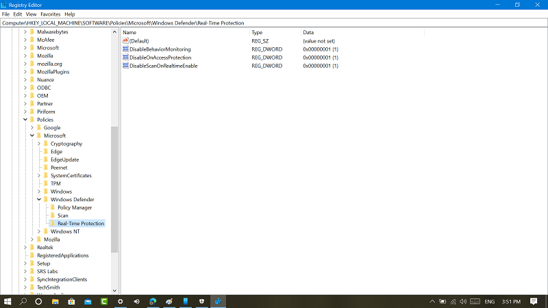 real time protection key in windows 10