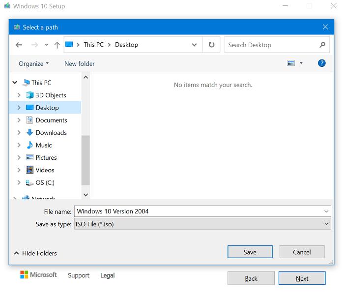 save windows 10 iso image
