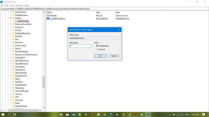 Create ScanWithAntiVirus key in registry editor