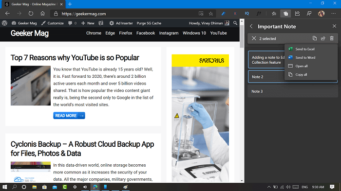 share note to word and excel in microsoft edge