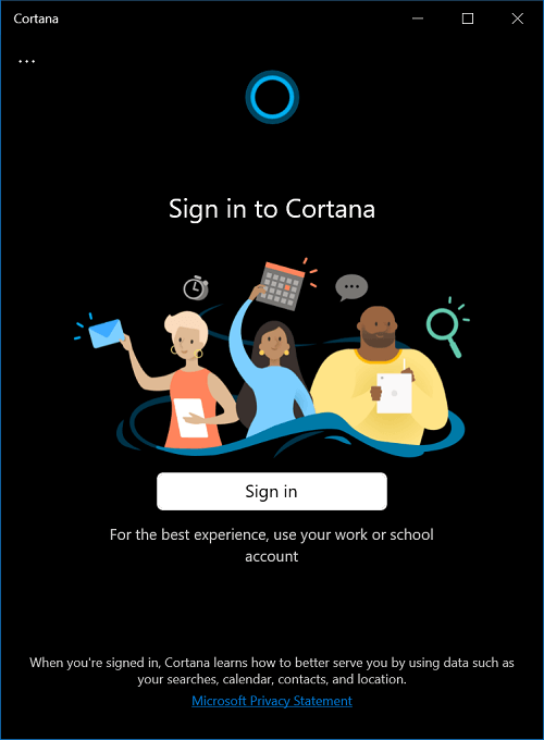 Sign in to Cortana app in windows 10
