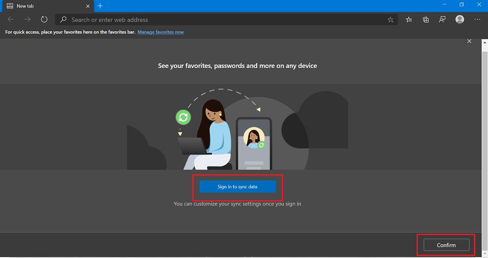 Log into Microsoft Edge using Microsoft account