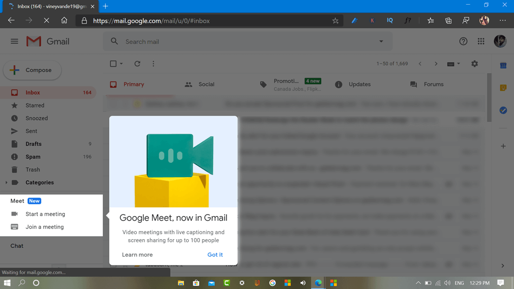 How to Start or Join Google Meet video meeting directly from Gmail
