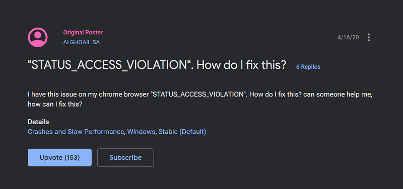 Google Chrome Status access violation error