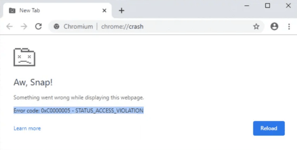 fix - chrome Showing Aw, Snap! Page with Error Code STATUS_ACCESS_VIOLATION