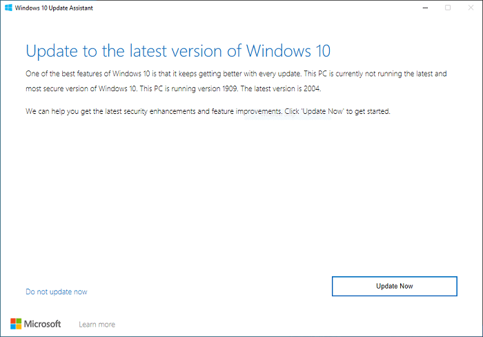 Update PC to latest version using Windows 10 update assistant
