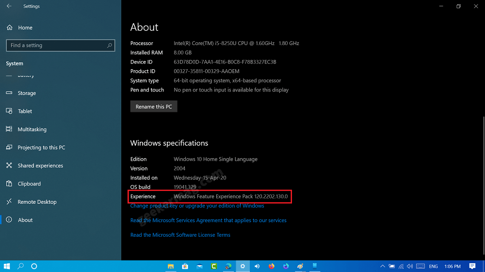 What's New in Windows Feature Experience Pack in Windows 10 version 2004