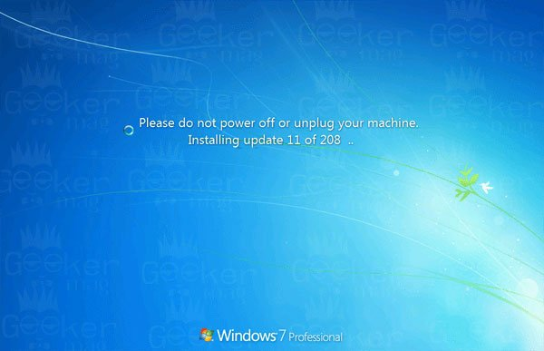 please do not power off or unplug your machine installing update