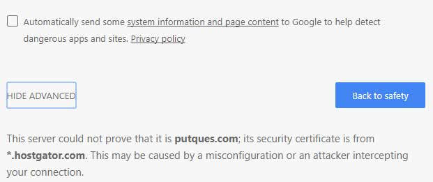 proceed to website - chrome insecure page