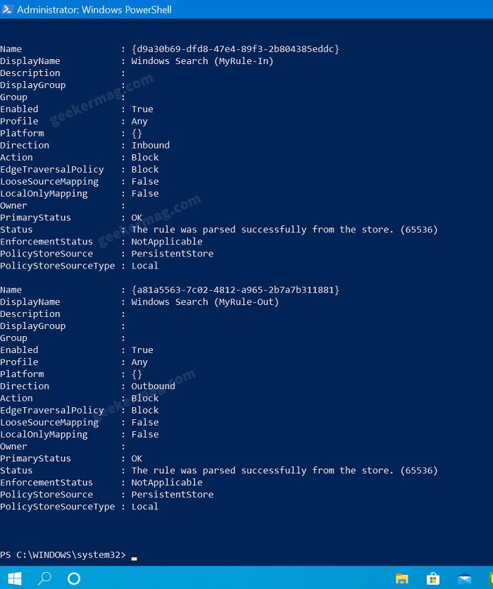 block bing in windows 10 start search command