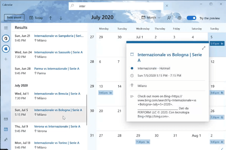 Windows 10 Calendar (Preview) App is getting a new search feature