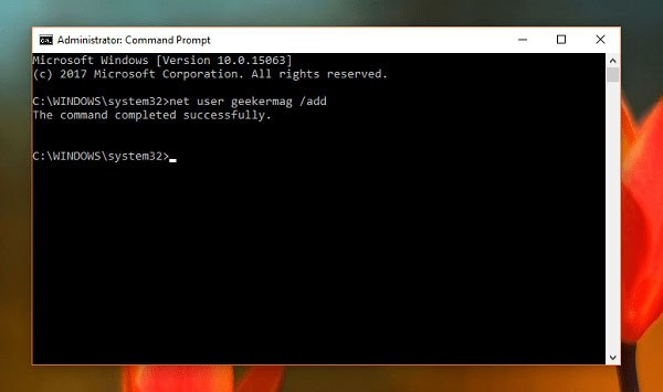 create new user account in windows 10 using command prompt