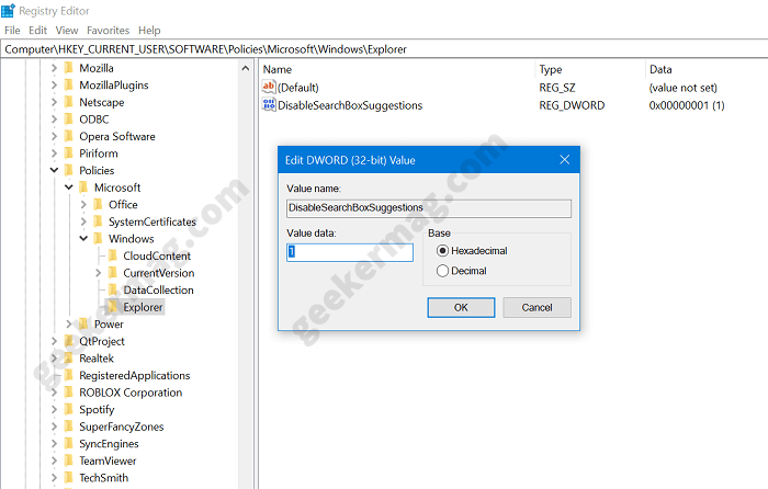 disable search box suggestions dword value in windows 10 version 2004