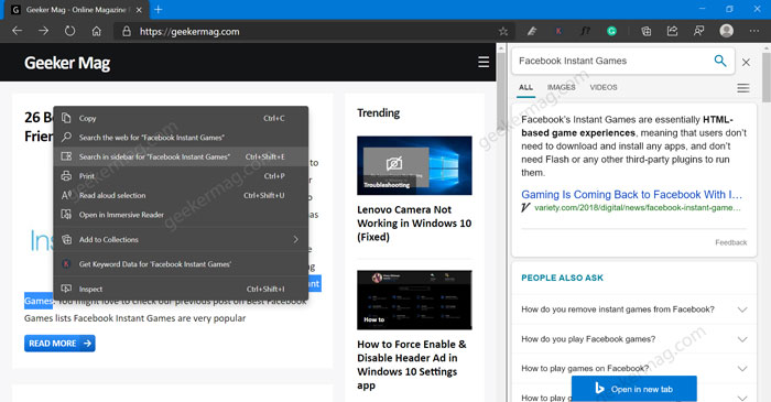 how to use sidebar search feature in microsoft edge