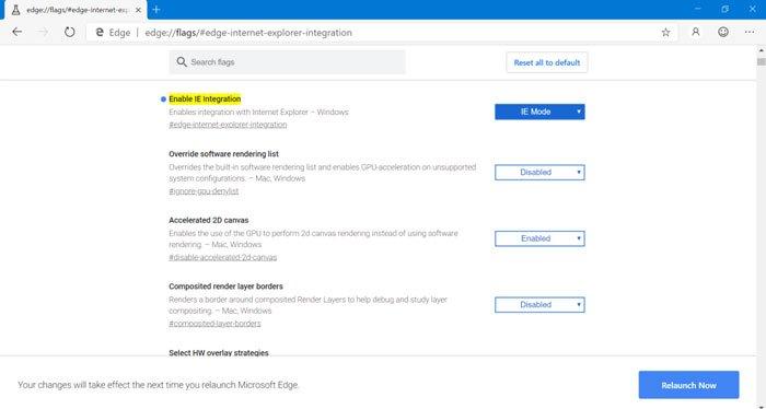 enable internet explorer integration in edge browser