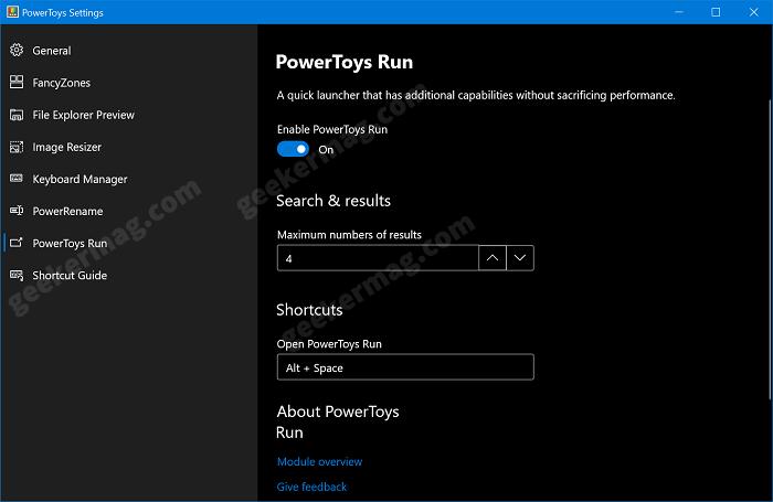 enable powertoys run in windows 10