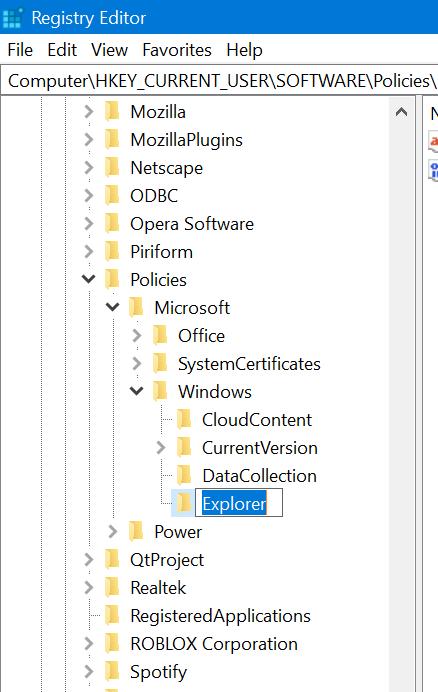 create explorer key in windows 10 registry editor