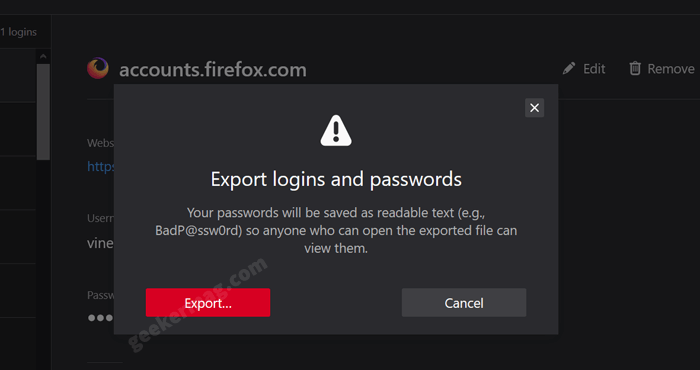 export logins and passwords dialog in firefox