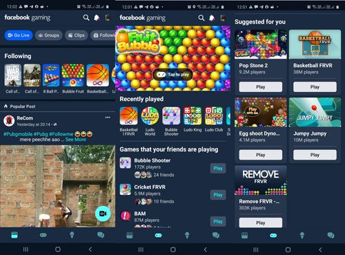 play instant games on facebook gaming app