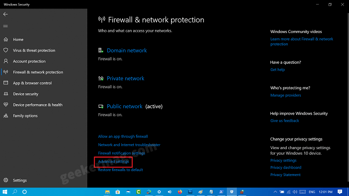 Firewall & network protection advanced settings windows 10