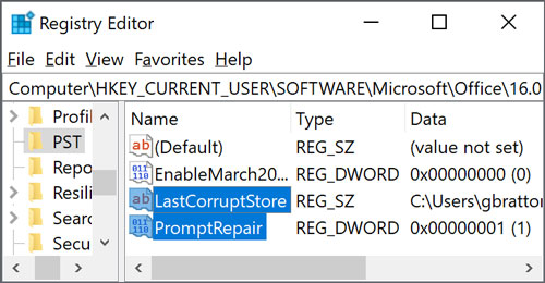Computer\HKEY_CURRENT_USER\SOFTWARE\Microsoft\Office\16.0\Outlook\PST