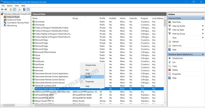 delete inbound rules in windows firewall