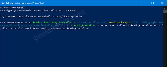 install chrome on windows 10 using windows powershell