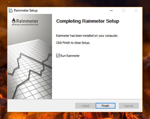 rainmeter installation completed