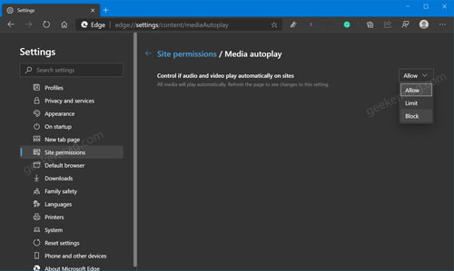 Control if audio and video play automatically on sites in microsoft edge