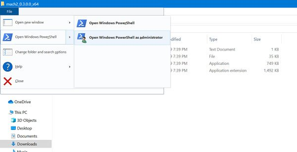 open windows powershell as administrator in file explorer in windows 10