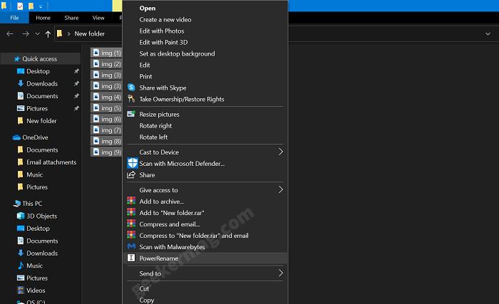 PowerRename option in file explorer context menu