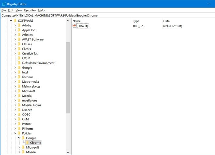 Chrome key in registry editor in windows 10