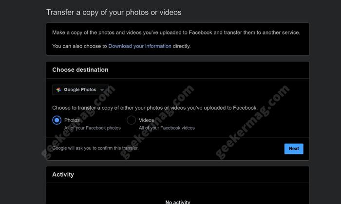 select photos in facebook photos transfer tool