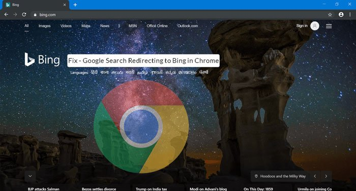 stop google redirecting to bing chrome