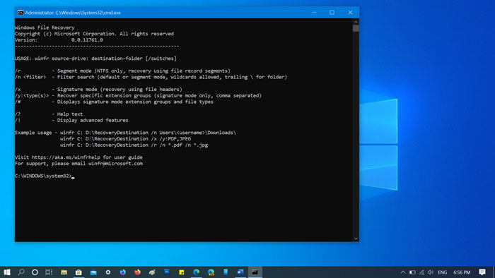 Download Microsoft's Windows File Recovery app for Windows 10 v2004