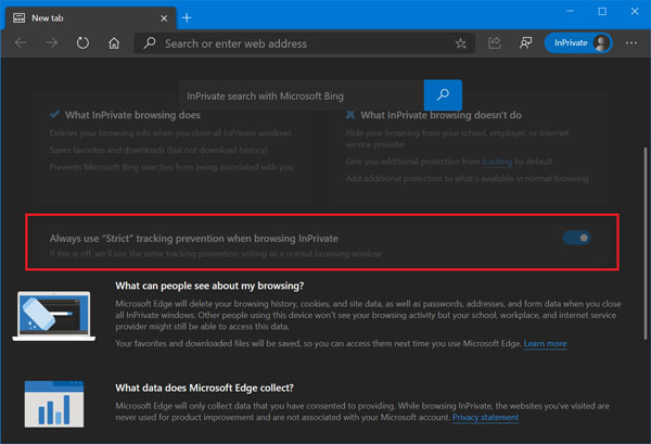 """Always use """"Strict"""" tracking prevention when browsing InPrivate in microsoft edge"""