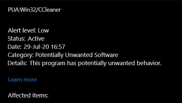 Windows Defender detects CCleaner as Potentially Unwanted App (Temporary Fix)