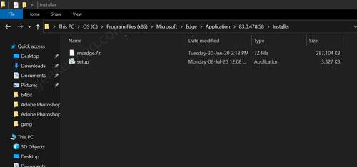 microsoft edge setup folder in windows 10