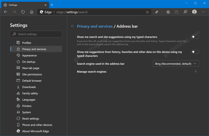 Enable and Disable Site & Search Suggestions in Microsoft Edge Address Bar