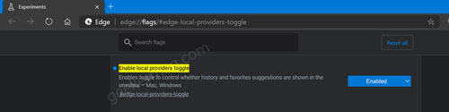 Enable local providers toggle flag in edge browser