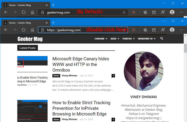 Microsoft Edge Canary hides WWW and HTTP in the Omnibox