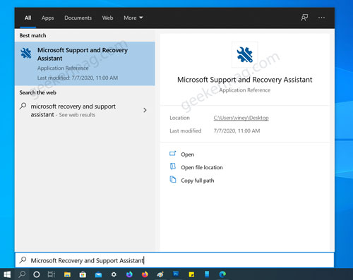 Launch Microsoft Recovery and Support Assistant