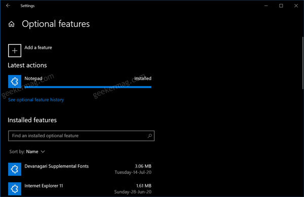 Notepad installed in windows 10