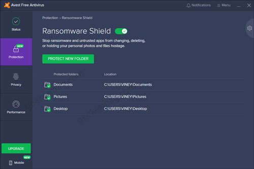 Avast Free Antivirus Ransomware shield settings