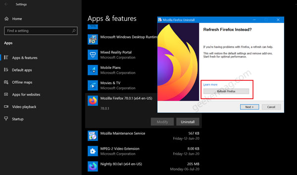Refresh Firefox from Firefox Uninstall Wizard
