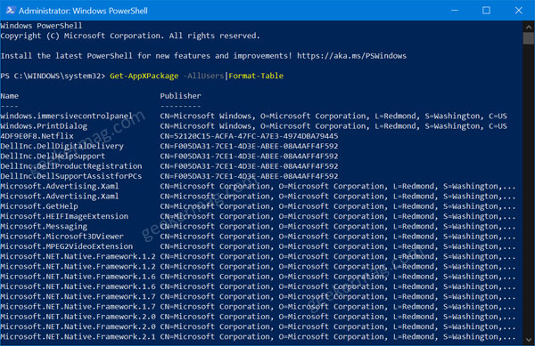 list of windows 10 app to reset using windows powershell