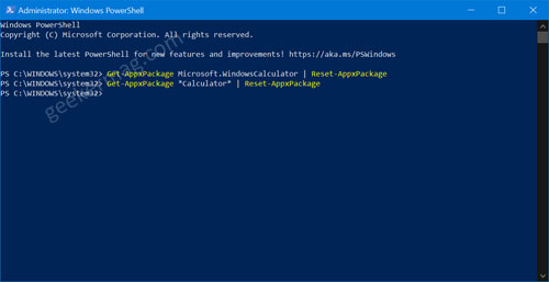reset calculator app using windows powershell command method