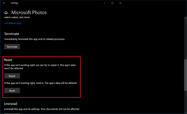 reset photos app in windows 10