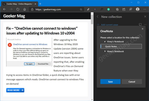 save edge collection in onenote notebook