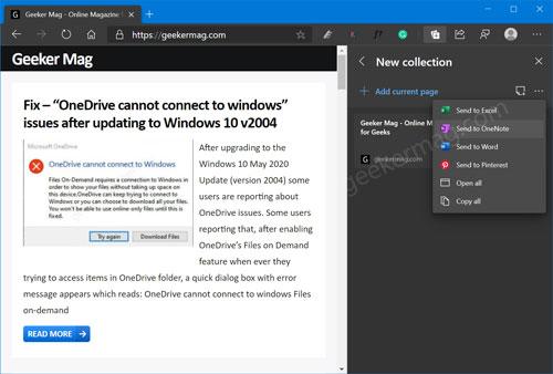 Send Microsoft Edge Collection to OneNote